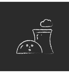 Nuclear power plant icon drawn in chalk vector