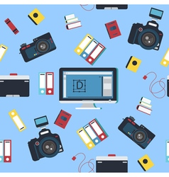 Photographer Tools Seamless Pattern with Camera vector image