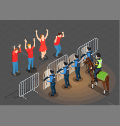 Police and people isometric background vector