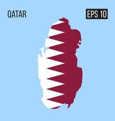 qatar map border with flag eps10 vector image