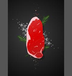 Raw beef strip loin steak on dark background vector