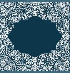 Retro white boho floral pattern frame four vector