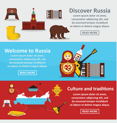 russia travel banner horizontal set flat style vector image