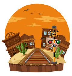 scene with cowboy town and railroad vector image