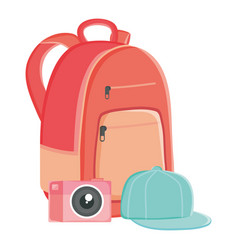 schoolbag with sport cap and camera photographic vector image
