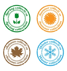 season collection stamps vector image