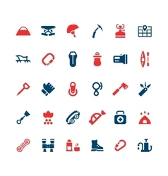 Set color icons of camping and mountaineering vector image