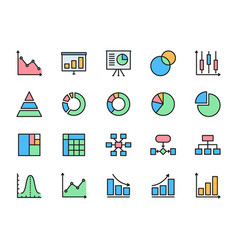 set graph and chart flat color icons pie chart vector image
