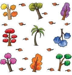 Set of various tree doodles vector