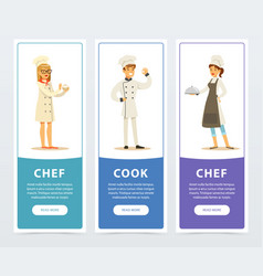 set of vertical banners with restaurant workers vector image