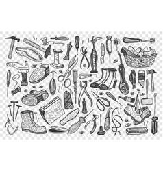 shoemaking hand drawn doodle set vector image