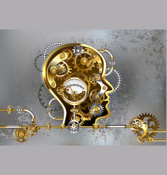Steampunk head with manometer vector