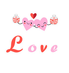 super festive fun cartoon hearts vector image