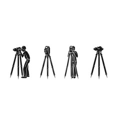 surveyor icon set simple style vector image