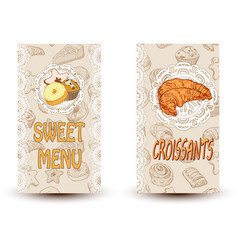 sweet menu and croissant vector image