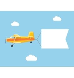 The plane flies with long banners for your text on vector image