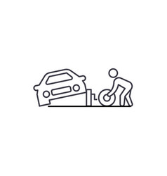 tire replacement line icon sign vector image