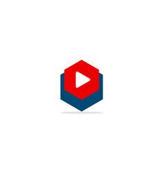 triangle play button polygon logo vector image