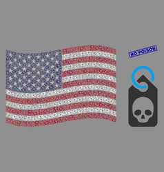 United states flag mosaic death skull tag and vector