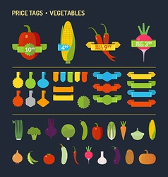 Vegetables set Price tags Elements for cards po vector