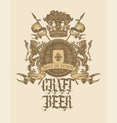 vintage hand-drawn coat arms old brewery vector image