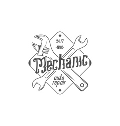 Vintage label design Mechanic auto repair patch vector