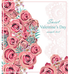 vintage roses floral card background vector image