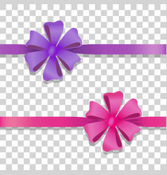 Violet and pink wide ribbons with colourful bows vector