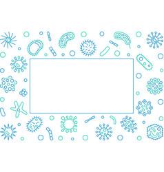 Virus blue horizontal frame outline vector