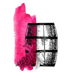 Wine grape barrel and grape twig vector