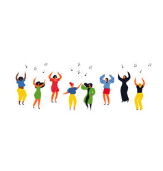 women people group dancing on isolated background vector image