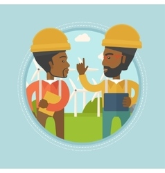 Workers of wind farm talking vector