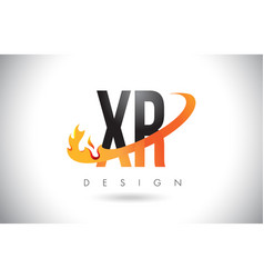 xr x r letter logo with fire flames design and vector image