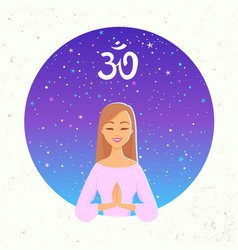Yoga girl cosmos vector