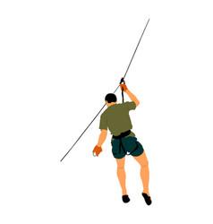 zip line man sport climbing rescue mission vector image