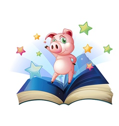 A book with an image of a pig dancing vector