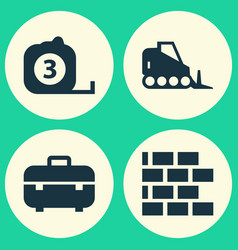 architecture icons set collection of tractor vector image