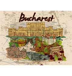 bucharest doodles with grunge vector image vector image