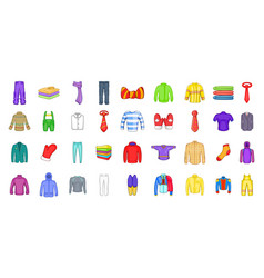 clothes icon set cartoon style vector image