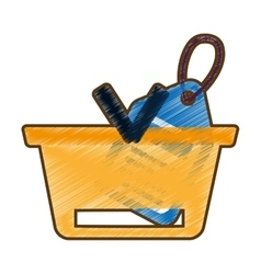 drawing basket buying online blue price tag vector image vector image