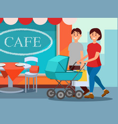 happy family walking in city center young mother vector image vector image