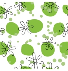 Outline flowers on green spots vector image
