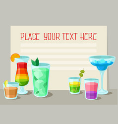 alcoholic cocktails banner with place for your vector image vector image