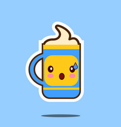 cute cup of coffee cartoon character isolated on vector image