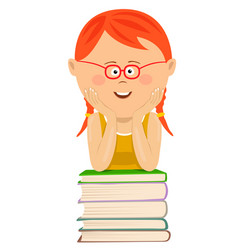 cute little girl leans on stack of books vector image vector image