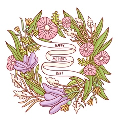 Happy Mothers day beautiful floral wreath greeting vector image vector image