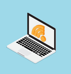 laptop with wifi icon technology concept vector image