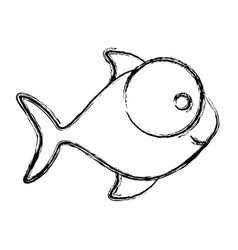 monochrome sketch of fish with big eye and small vector image