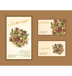 Set of business cards with floral design vector image vector image