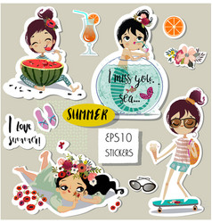 set with cute summer cartoon girl vector image vector image